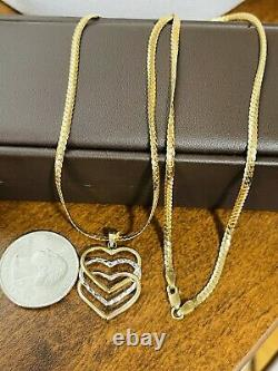 18K 750 Fine Saudi Gold 20 Long Heart Set Necklace With 6.34g 3mm Fast Ship