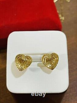 18K 750 Fine Saudi Gold Womens Heart Earring With 3g Fast Shipping USA Seller