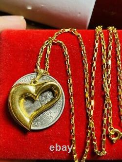 18K Fine 750 Saudi Gold Womens Heart Necklace With 18 Long 1.6mm 3.64g Fastship