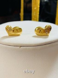 18K Fine 750 Yellow Gold Womens Set Heart Earring Only Fast shipping 3.13g