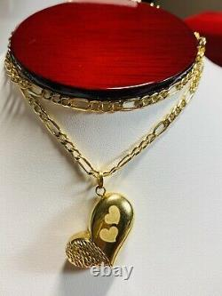18K Fine Yellow Saudi Gold Womens Heart Necklace With 18 3.2mm 6.32g Fastship