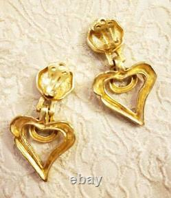 Christian Lacroix Heart Earrings Gold Nearly Unused Made in France Fast Shipping
