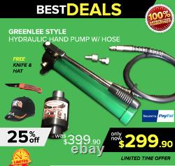 Greenlee Style Hydraulic Set, Pump, Ram, Hose, Free Hat And Knife, Fast Ship