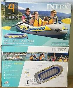 Inflatable 4-Person Boat with OARS & PUMP Intex Explorer Pro 400 Kayak FAST SHIP
