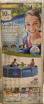 Intex 10 ft x 30 in Metal Frame Pool Set with Pump & Filter In hand ships fast