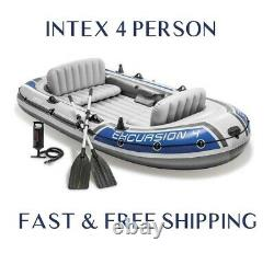 Intex Excursion 4 Person Inflatable Boat Dinghy with Oars & Pump FAST SHIPPING