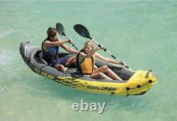 Intex Explorer K2 Kayak 2-Person Inflatable Set withOars & Pump FAST FREE SHIPPING