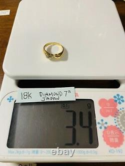 K18 Japan Gold Womens Beautiful Heart Ring With Diamond Fits 6.5- 7 Fast Ship