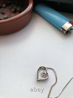 Kay Jewelers Diamond Open heart Silver 10k Necklace NEW Fast free VD ship