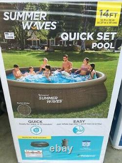 NEW Summer Waves 14' x 36 Quick Set Wicker Pool with Filter & Pump SHIPS FAST
