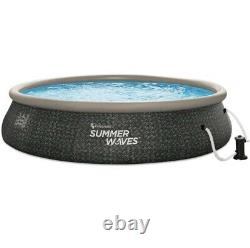 Summer Waves 16x42 Wicker Print Quick Set Pool 16 ft withPump FAST SHIP In Hand