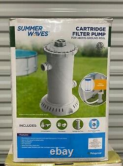 Summer Waves Cartridge Filter Pump For Above Ground Pools, 1000 GPH SHIPS FAST