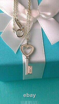 Tiffany & Co. Mini Heart Key Silver Necklace Near Mint with Pouch Box Fast Ship